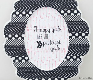 Black and white pattern picture frame and Happy Girls Audrey Hepburn ...