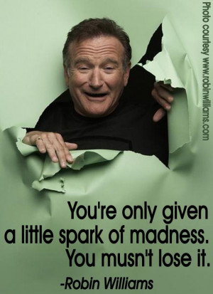 """... little spark of madness. You mustn't lose it."""" – Robin Williams"""