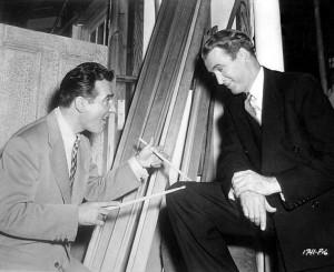 Gene Krupa and James Stewart on the set of