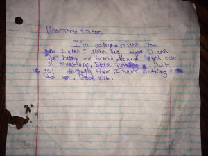 ... he was in foster care. I found this under the doormat this morning