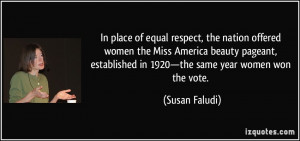 In place of equal respect, the nation offered women the Miss America ...