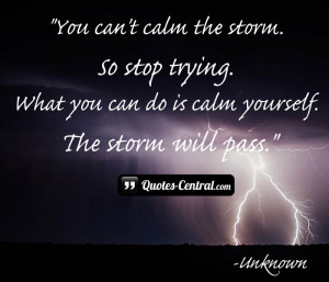 You can't calm the storm.