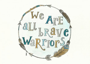 Brave Warriors Boho Feather Quote Watercolour Painting and Pencil ...