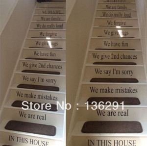 DIY LARGE STAIRS QUOTE IN THIS HOUSE RULES FAMILY LOVE WALL STICKER ...