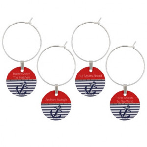 Funny Nautical Sayings Anchor Chic Stripe Pattern Wine Charm