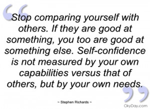 stop comparing yourself with others stephen richards