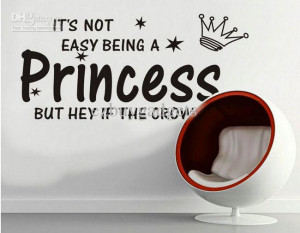 Wholesale - Cute Princess Crown Star Vinyl Wall Quote Baby Girls Kids ...