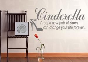 Funny Cinderella Quotes Cinderella shoes quote wall sticker