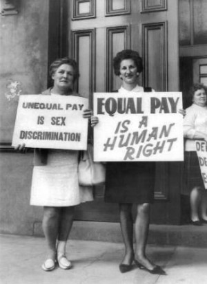 Wome given the right to earn equal pay (the same amount of money ...