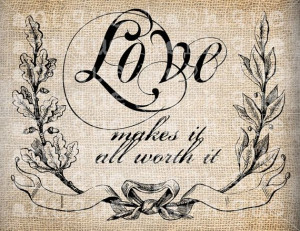 Antique Victorian Love Script Quote llustration Digital Download for ...