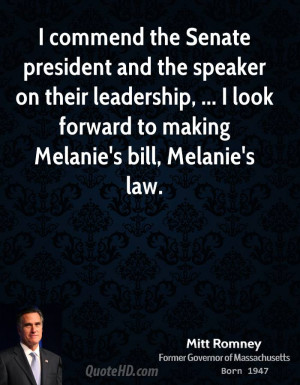 commend the Senate president and the speaker on their leadership ...