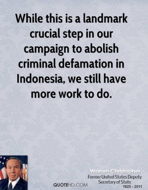 While this is a landmark crucial step in our campaign to abolish ...