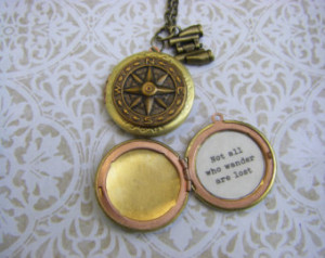 Antique Brass Compass Locket Not all who wander are lost quote Tolkien ...