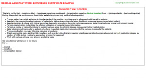 searching for medical assistant work experience certificate sample ...