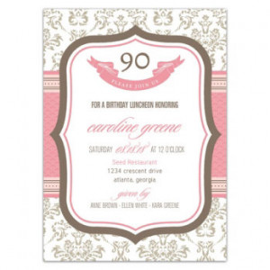90th Birthday Party on 90th Birthday Invitations French Boutique 90th ...