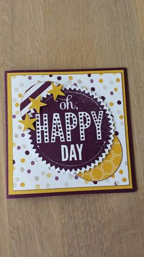 Stampin Up kaart Oh Happy Day Starburst Sayings