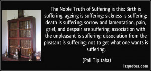 Birth is suffering, ageing is suffering; sickness is suffering; death ...