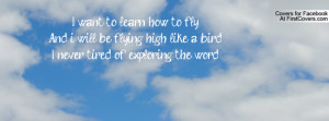 want to learn how to flyAnd i will be flying high like a birdI never ...