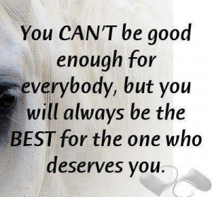 You can't be good enough for everybody