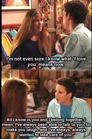 Cory Knows What He Feels For Topanga Is True Love On Boy Meets World