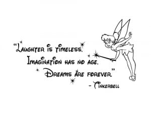 Disney Tinkerbell Quote: Laughter is Timeless Wall Words Sticker Decal