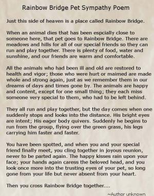 Pet Sympathy Card Rainbow...