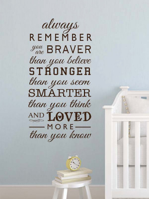 the Pooh Always remember you are braver than you believe baby quote ...
