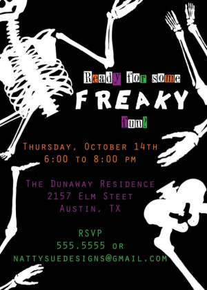 Freaky Skull Halloween Wording invitations