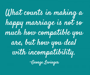 What counts in making a happy marriage is not so much how compatible ...