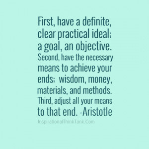 ... Definite, Clear Practical Ideal, A Goal, An Objective… - Aristotle