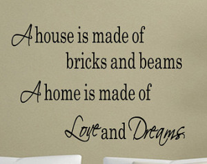 Home is made of Love And Dreams Wall Quotes Sayings Decal Sticker Wall ...