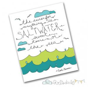 Saltwater Sea Ocean Water Quote Doodle Drawing Artwork