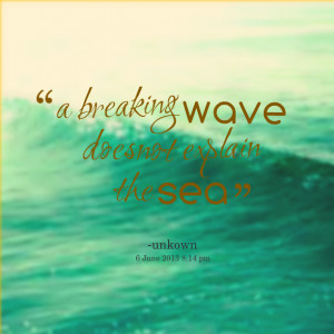 Quotes Picture: a breaking wave does not explain the sea