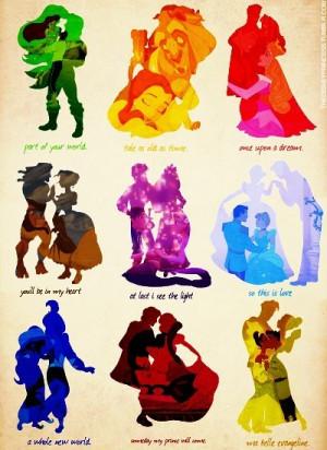 Disney Princess Disney Couples Silhouettes