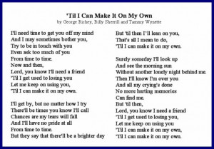 Til I Can Make It On My Own After Divorce Lyrics by Tammy Wynette