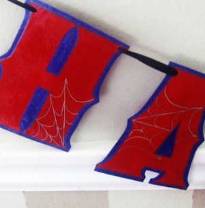 Spiderman HAPPY BiRTHDAY Banner - Red on Blue with Silver Spider Webs