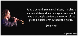 Being a purely instrumental album, it makes a musical statement, not a ...