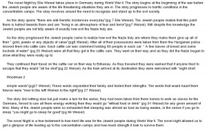 essay on Night by Elie Wiesel Summary Sample