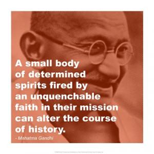 Gandhi - Determination Quote Art Print, Medium Small paper size, 14