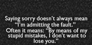 When sorry seems to be the hardest word...
