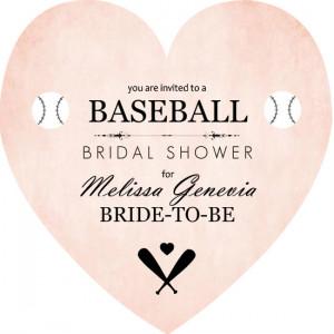 Pink Heart Baseball Bridal Shower Invite