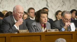 Senator Dianne Feinstein (D-CA) is shown at a Judiciary Committee ...