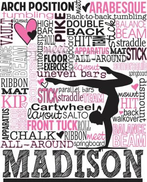 Gymnastics Print, Personalized Gymnastics Typography Print- Gymnastics ...
