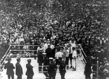 Dempsey and Carpentier in the arena before they fight