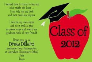 Love this invitation wording for Kindergarten graduation!