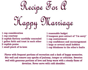 recipe for a happy marriage click the image for a closer view
