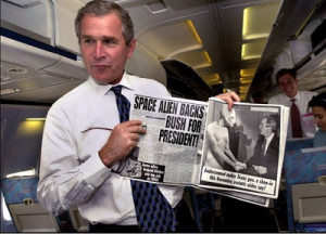 Above: George W. Bush shows off his first endorsement, making fun of ...