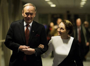 Jean Chrétien, left, and his wife. Aline, head to an event honouring ...