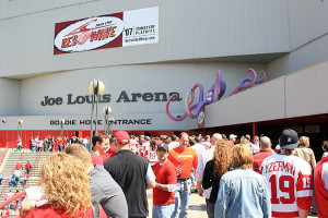 Fans Make Their Way Toward The Gordie Howe Entrance At Joe Louis ...