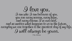 Details about I LOVE YOU / ALWAYS BE YOURS / THE NOTEBOOK QUOTE WALL ...